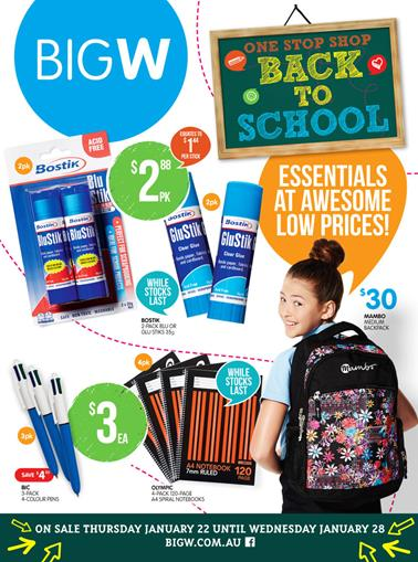 Big W January Back to School New Products