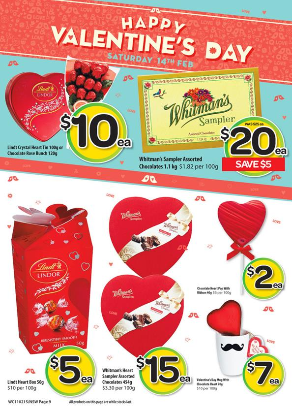 Woolworths Catalogue February Valentine's Day Chocolates