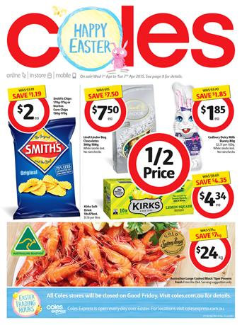 Coles Easter Specials April 2015 and Food Products