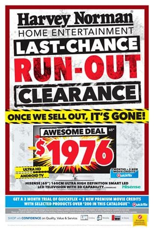 Harvey Norman Clearance March 2015