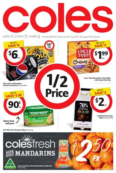 Coles Catalogue Half Price Products 22 Jul