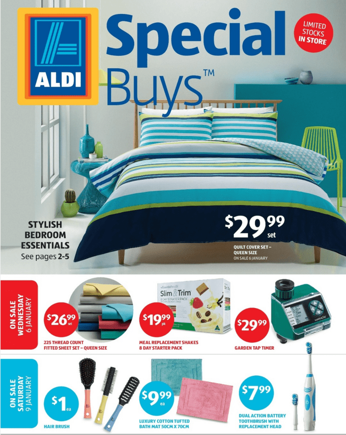 aldi special buys catalogue 6 12 jan 2016. Black Bedroom Furniture Sets. Home Design Ideas