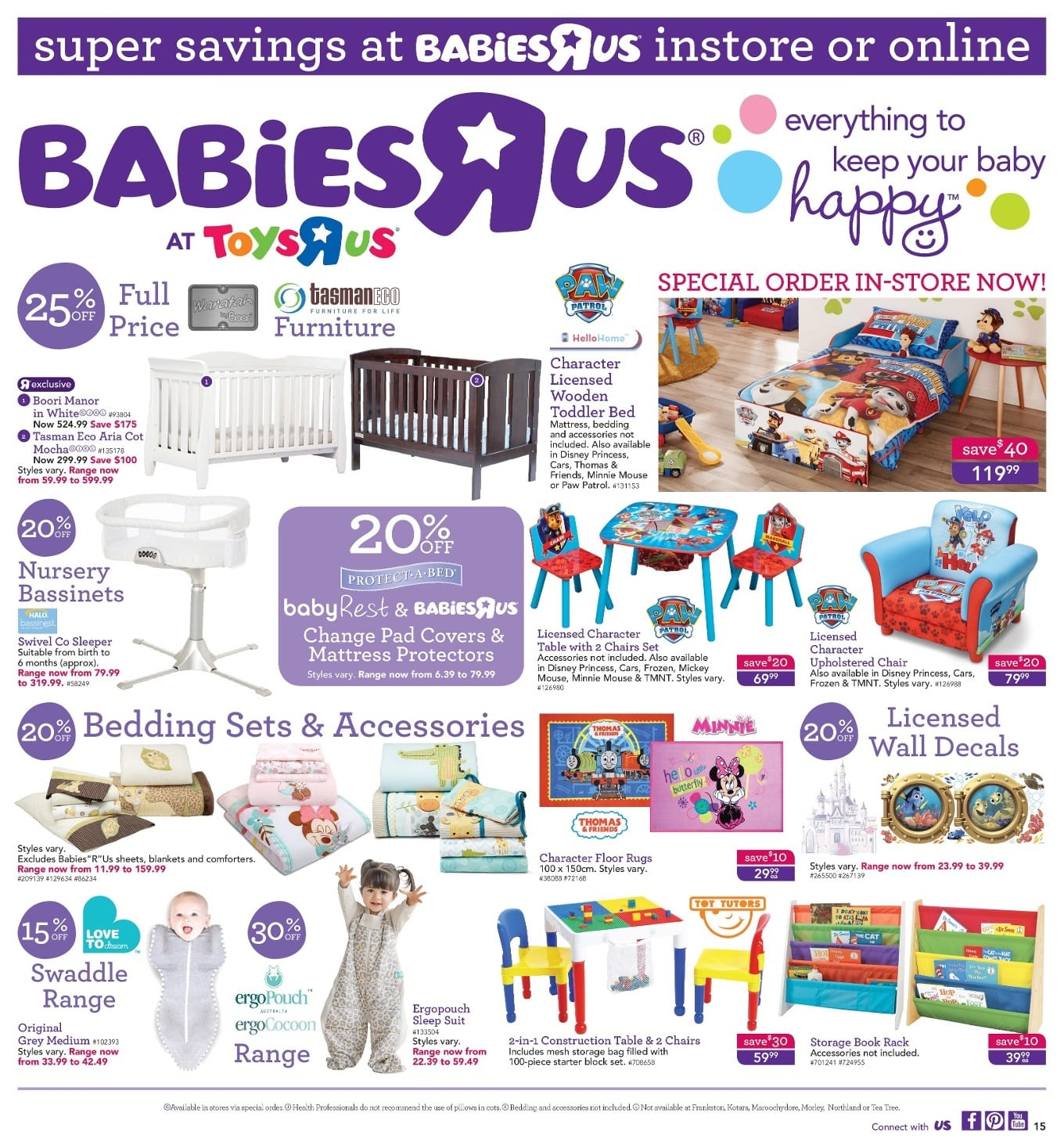 Save with this week Babies R Us specials, and offers. The retailer operates a chain of specialty stores in Australia, that offer products for newborns and infants. The retailer offers cribs, dressers, changing tables, bedding, humidifiers, toddler and infant plush toys, T-shirts for .