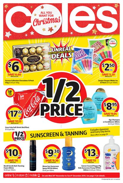 Coles Catalogue Christmas 30 Nov - 6 Dec 2016