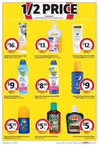 Coles Catalogue Half Price Sunscreens 2 Jan 2018