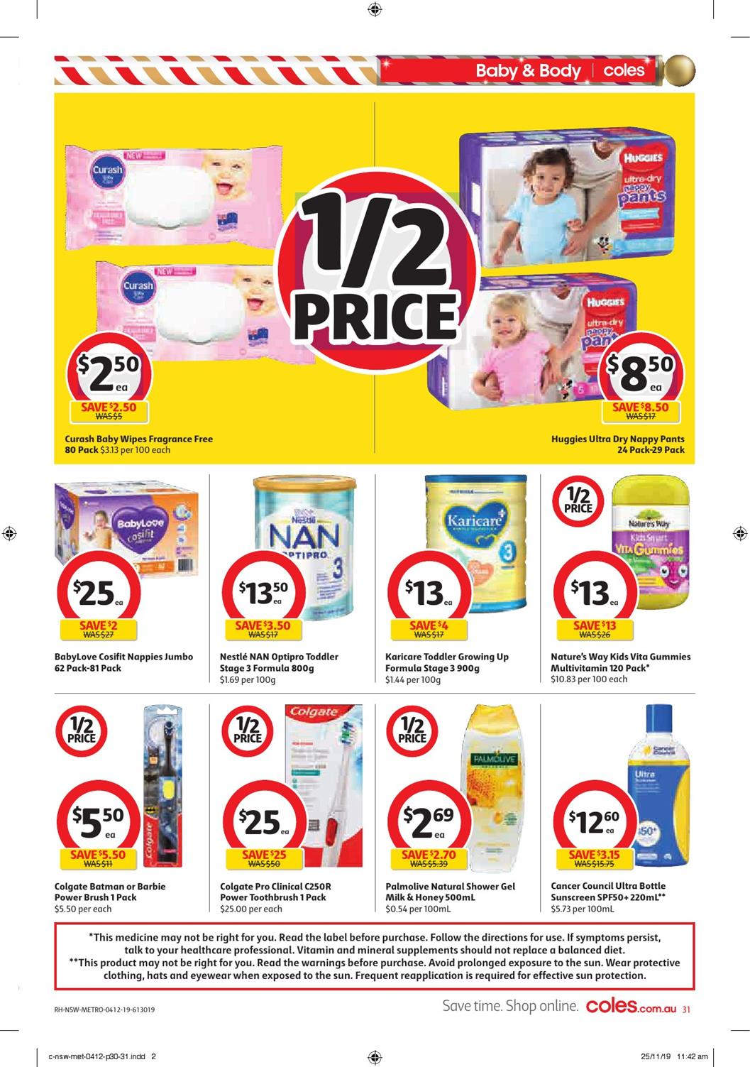 Coles Catalogue Baby Care Half-Price Sale 4 - 10 Dec 2019