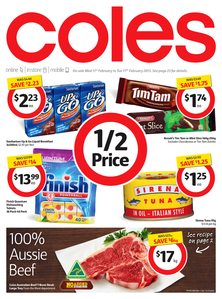 coles catalogue february 2015 supermarket products