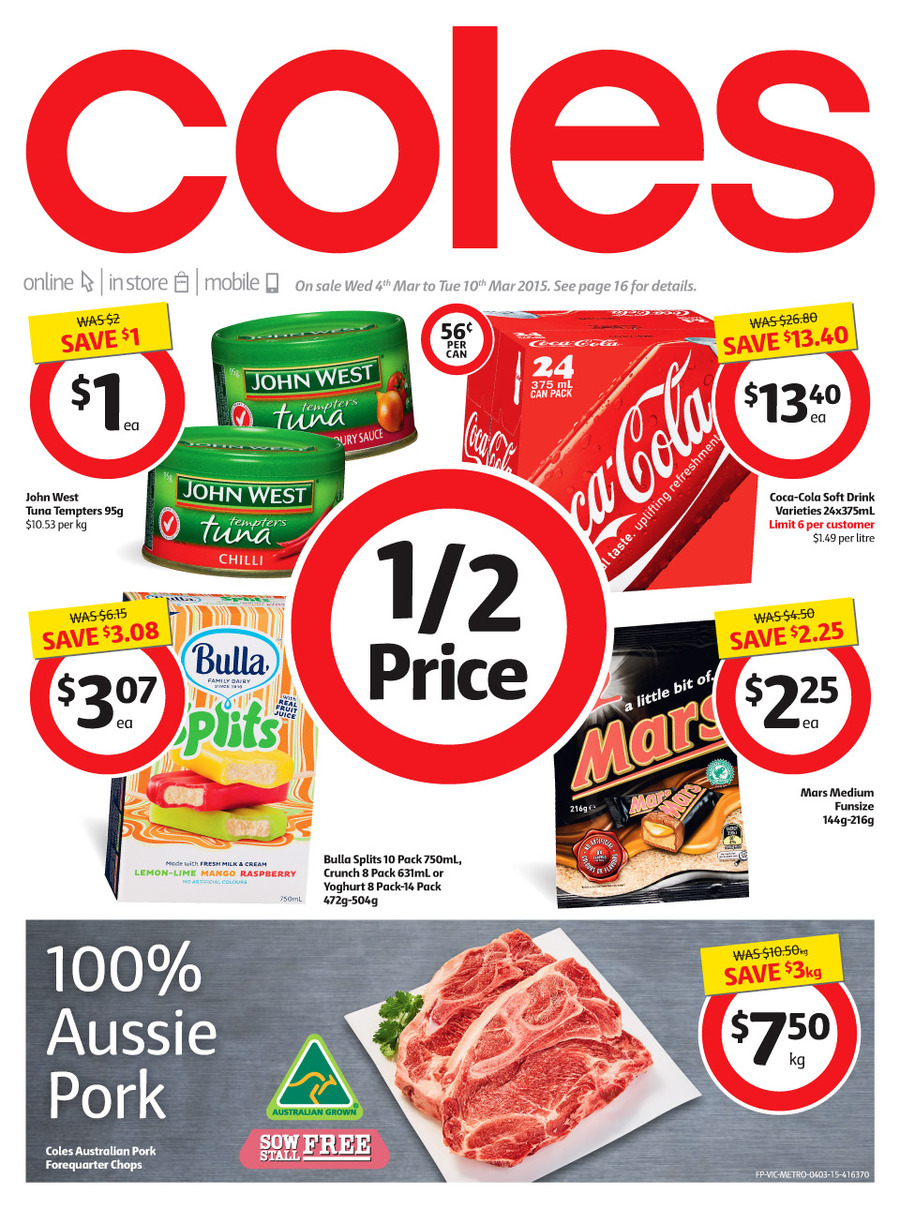 coles catalogue march savings 2015