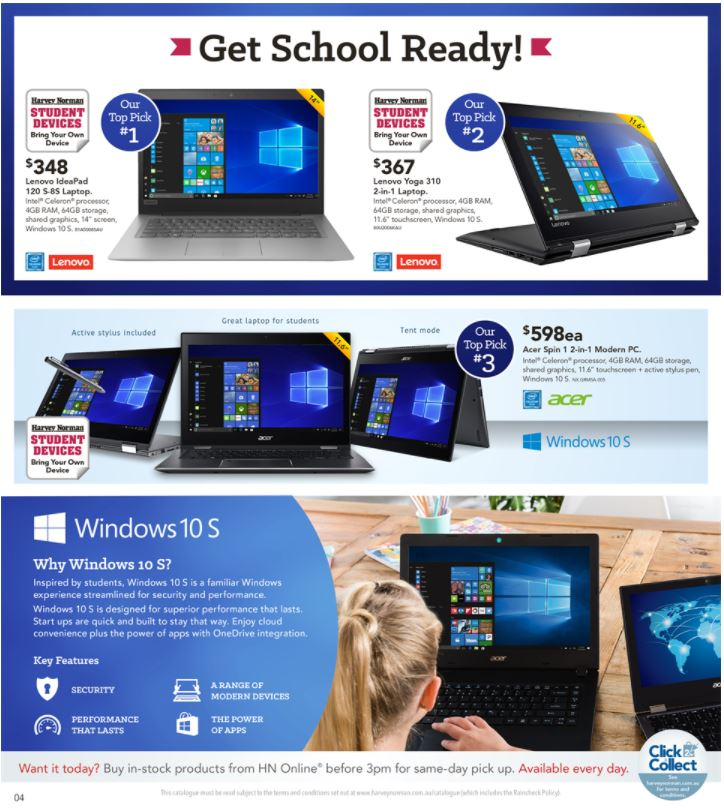 harvey norman catalogue back to school january 2018
