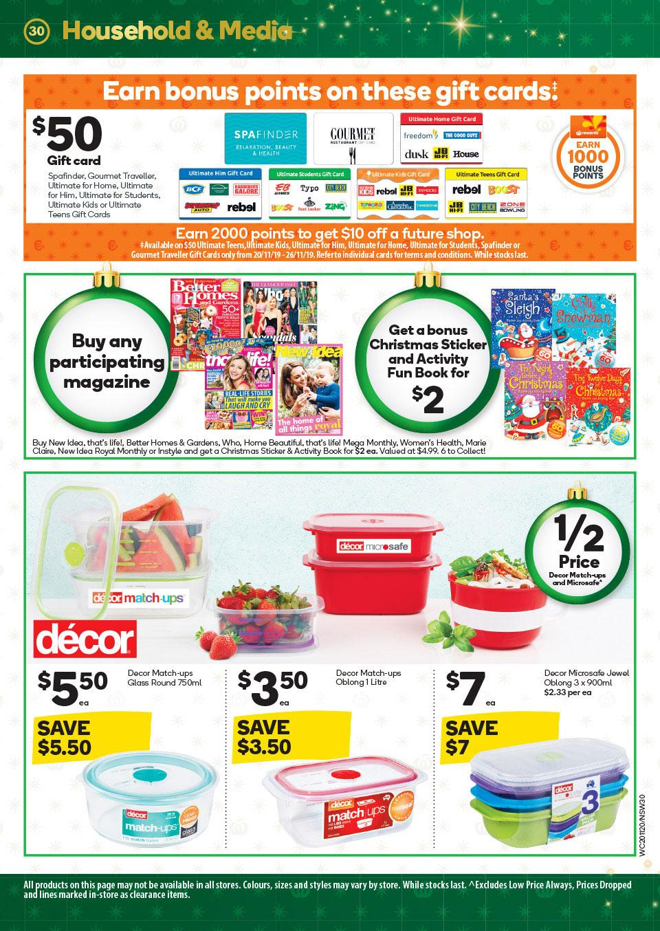 Woolworths Catalogue Gift Cards 20 - 26 Nov 2019
