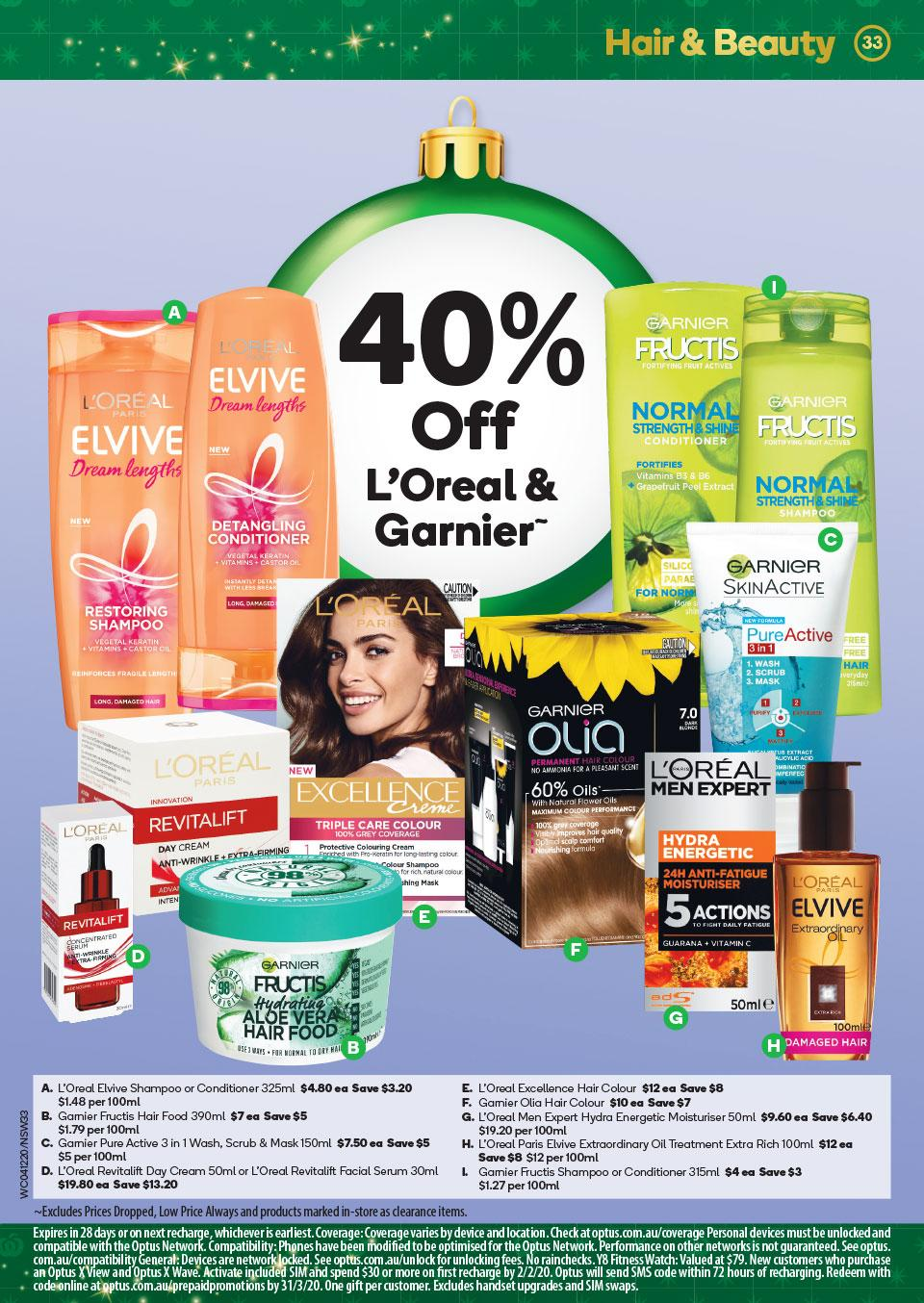 40% off Garnier and L'Oreal at Woolworths This Week